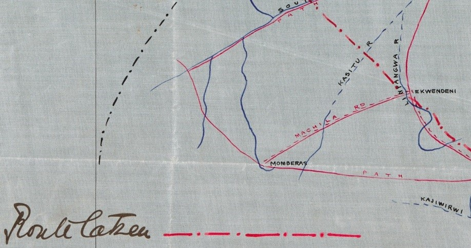 Figure 2. Enlargement of Figure 1, showing the village of Ekwendeni, the seat of the indaba between Alfred Sharpe's administration and the Ngoni tribal chiefs. (Extract from WOMAT/AFR/BCA/23/1)